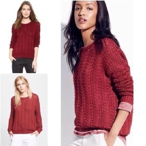 Vince Cotton Sweater $399NWT Berry Red Top RARE XS